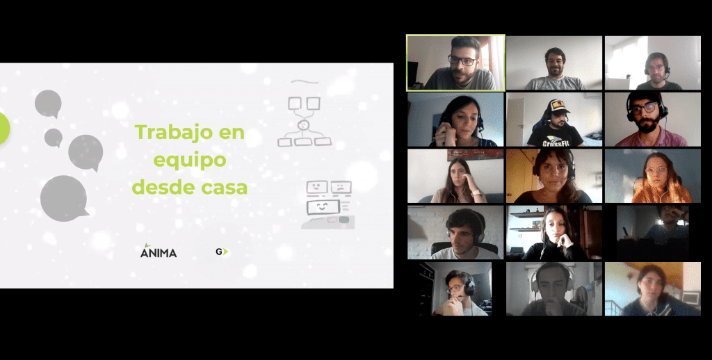 Screenshot of Zoom meeting with an online workshop with students in Uruguay