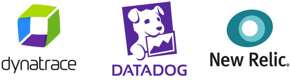 Tres logos Dynatrace Datadog New Relic