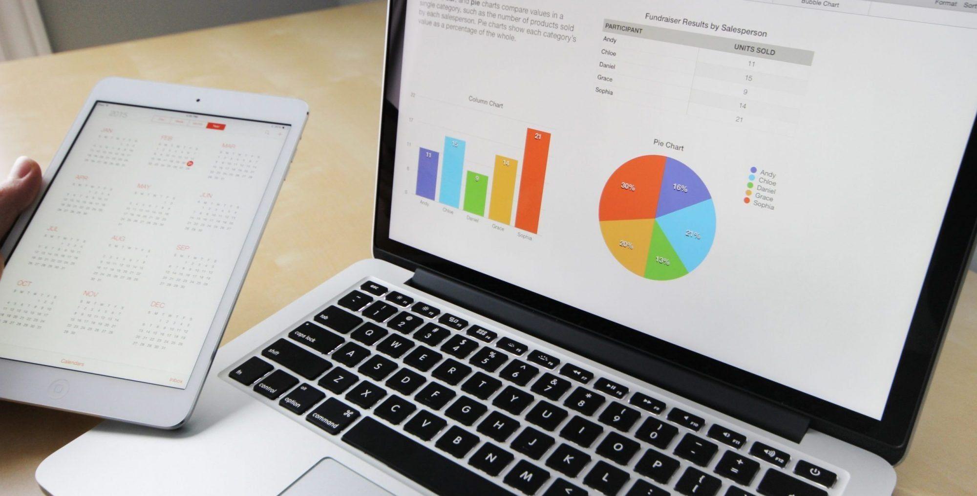 computer shows marketing charts