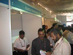 Sandeep speaks with a visitor
