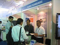 Shashank and Sandeep speak with visitors at Clarice demo stall